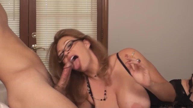 Amature slut Charley chase at the same time smokes and makes a great blowjob to a customer