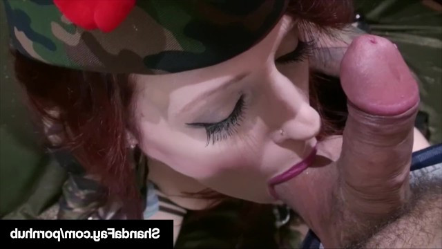 Beautiful redhead milf Shanda Fay joined the army and immediately arranged the debauchery