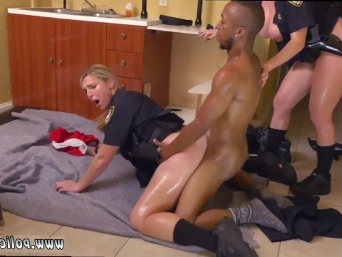 Black man fiercely fucked two hot mature policewomen who came to arrest him