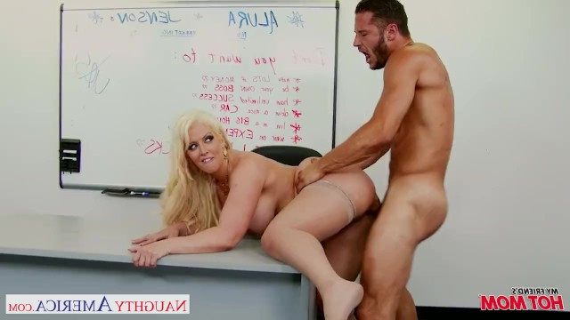 Busty blonde milf Alura Jenson has sex with a guy after the presentation