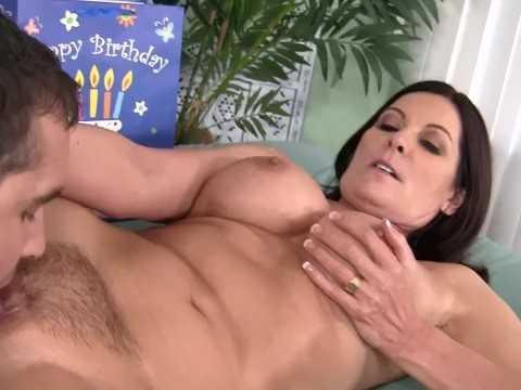 Busty hairy milf helped the guy to wrap present and sucked his penis