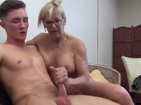 Divorced old woman with big tits brought the younger man to orgasm