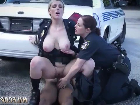 Ebony criminal passionately fucks two mature policewomen to avoid arrest