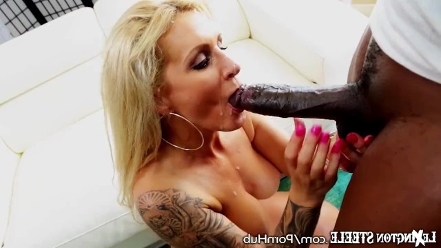 Ebony with huge cock impetuously fucks mature blonde Ryan Conner