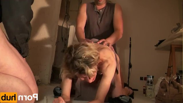 French cougar milf got wet from brave builders and made a fucking