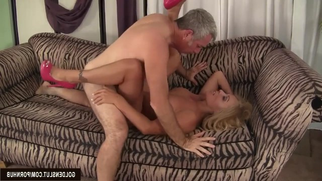 Granny blonde made boyfriend crazy by big tits and he fucked her cunt