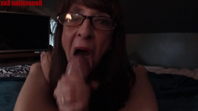 Granny gives her grandson a deep blowjob because she liked his big dick
