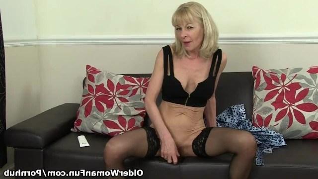 Granny loves sex so she enjoys sweet masturbation on the couch