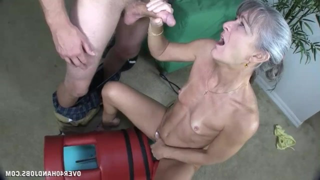 Granny was caught masturbating by her neighbor and decided to give him a skillful blowjob