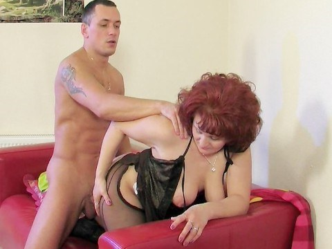 Guy persuaded busty granny neighbor on blowjob and ardently fucked her
