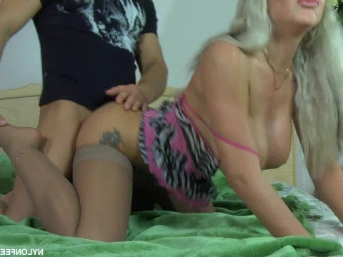 Guy satisfies busty russian blonde with crazy fucking and cums inside pussy