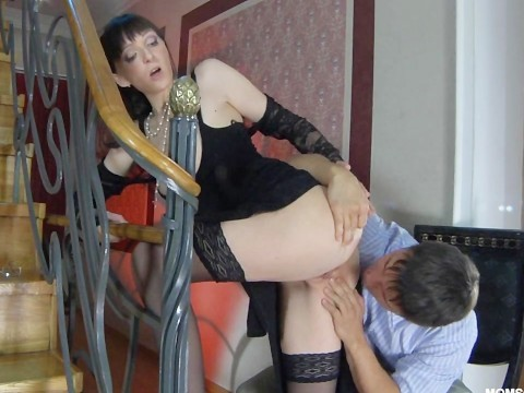 Guy stuck in pussy of skinny russian milf and even forgot where he went