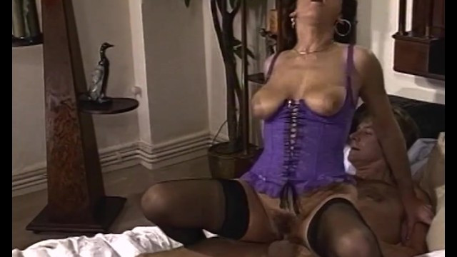 Hairy brunette milf sent her husband on a business trip and sat down on a lover's dick