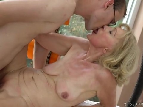 Horny granny turned the clock back fucking with a younger lover