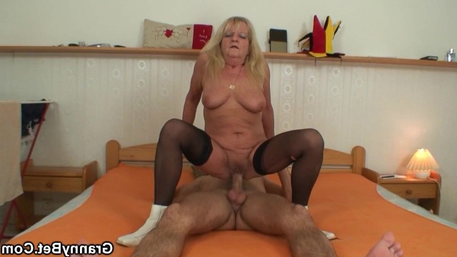 Horny granny used her grandsons phone and fucked with him in gratitude