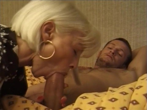 Hot blonde mom woke stepson at the night for a good fuck