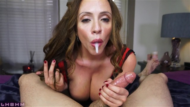 Hot brunette milf Ariella Ferrera measures her throat's depth, sucking guy's cock