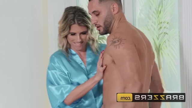 Hot busty blonde seduced her neighbor and came in his house for a fuck