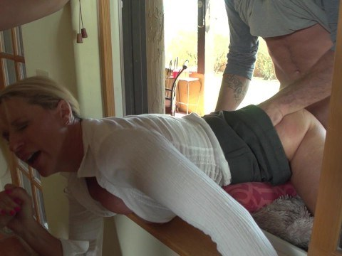 Hot milf stepmom stuck in the window and son with a friend fucked her