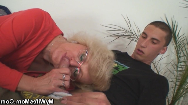 Hot old mom caught daughter's husband in stealing and made him to fuck her mature body