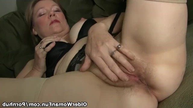 Lonely granny got bored without male attention and began to masturbate wet pussy