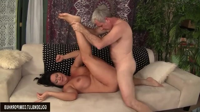 Man boldly touched big busty lady and she parted her legs wide for him