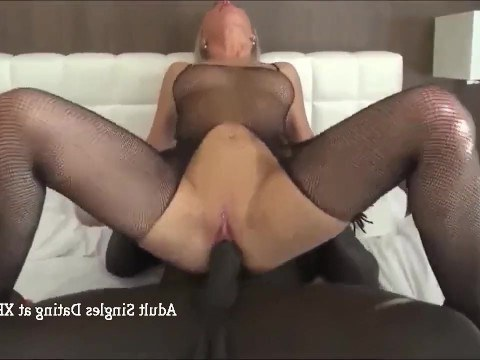 Mature blond fulfills her dream, fucking with a passionate African