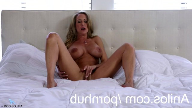 Mature blonde goddess Brandi Love very beautifully caresses her pussy