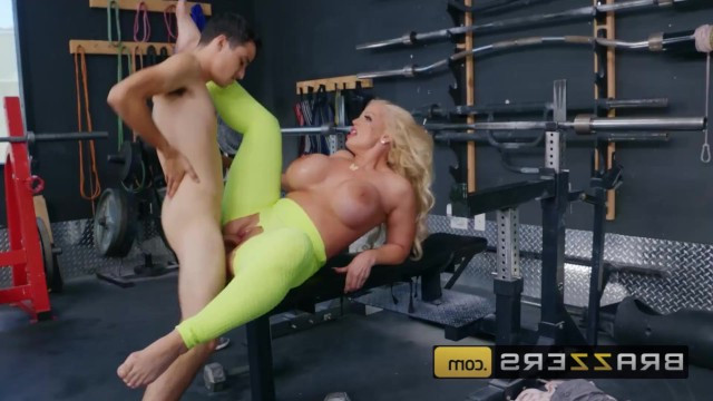 Mature blonde met a young guy and immediately fucked him