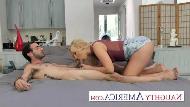 Mature blonde with big tits provoked her friend into having sex and ordered him to fuck her