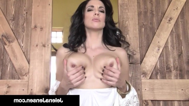 Mature brunette lady is bored in the country so she masturbates in the old barn