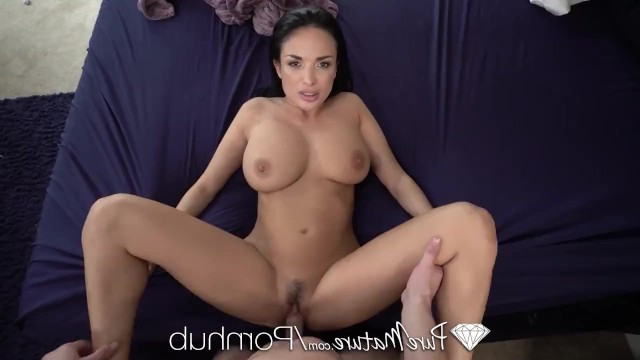 Mature brunette with big tits enjoys a fat cock inside her vagina