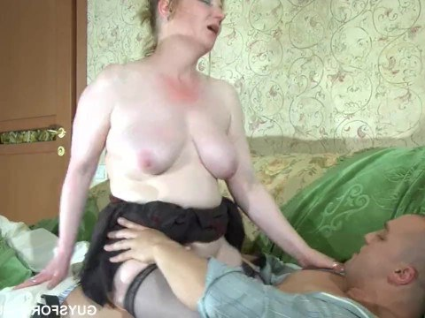 Mature lady chases the guy in the toilet and insists on sex