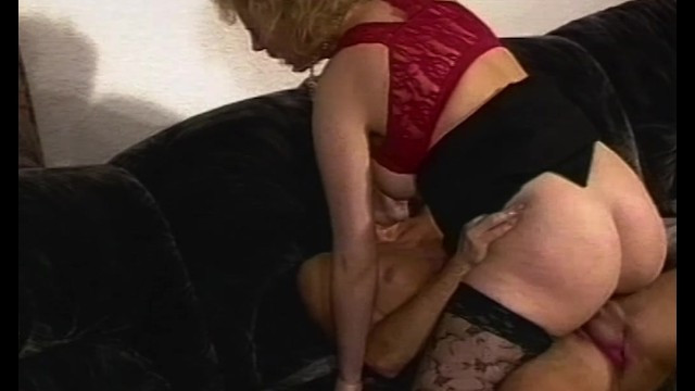 Mature lady was masturbating hairy pussy, but a good guy helped her to cum