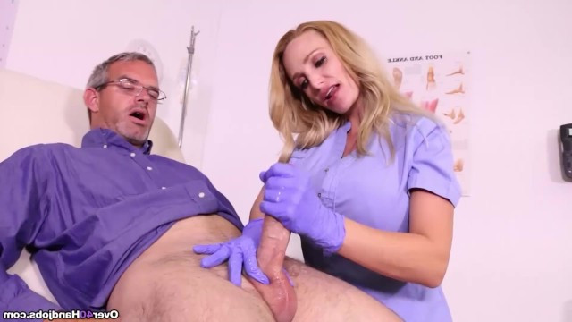 Mature milf nurse checks mans erection with passionate handjob