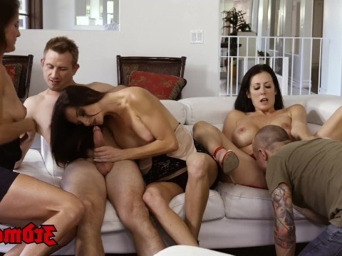 Mature milf Reagan Foxx arranged an awesome threesome at a hen party