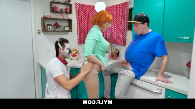 Mature mom Lauren Phillips gets gangbanged at a halloween party