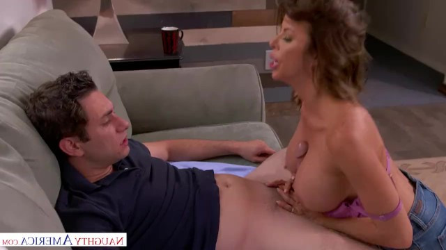 Mature mom treated her son's friend with tea and her own pussy