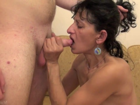 Mature mom with hairy pussy found comfort in fucking with her son