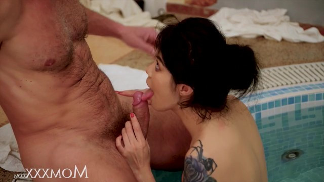 Mature tattooed milf came out of a warm pool to fuck in the pussy