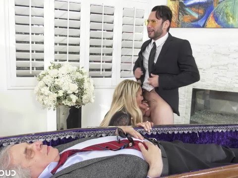 Mature wife have depraved sex with lover at the funeral of a cuckold husband
