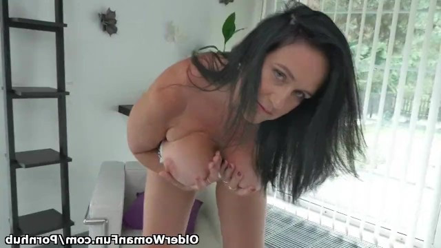 Mature women saves herself from loneliness with sensual masturbation of pussy