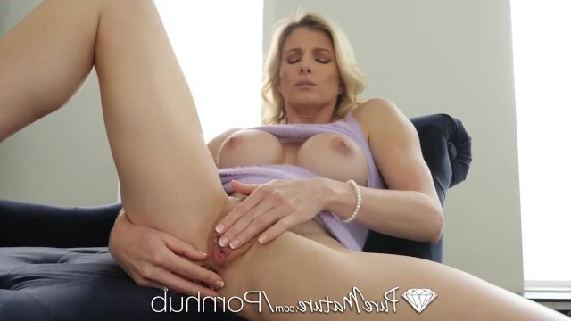 Mother teased her holes with fingers, and then fucked in anal with her son