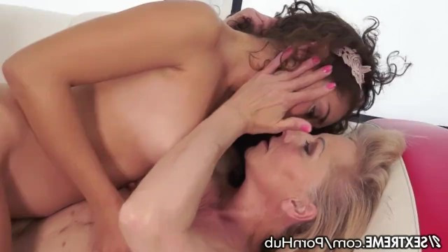 Old lesbian undressed Melody Petite and licked her pussy