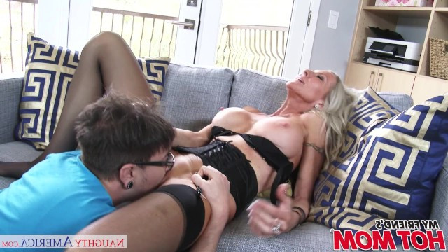 Petite blonde milf pulled out from under the couch shy friend and staged sex with him