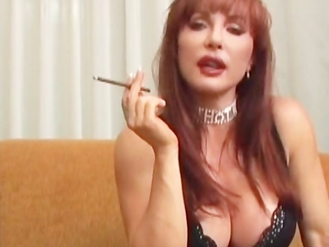 Redhead big tits milf enjoyed a cigarette and then tackled the partner's cock