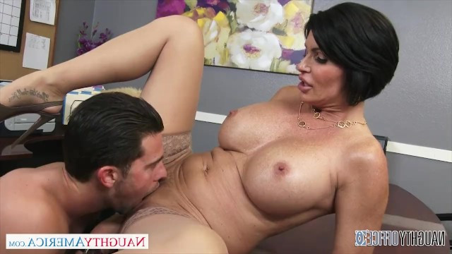 Sexy brunette milf hired the boy and checked his skills in sex