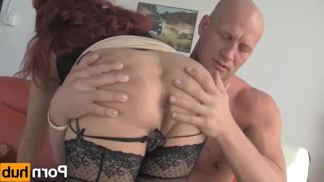 Sexy mature redhead brightened her loneliness, having hot sex with a bald neighbor