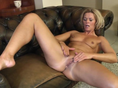 Sexy milf masturbating actively after a hard day