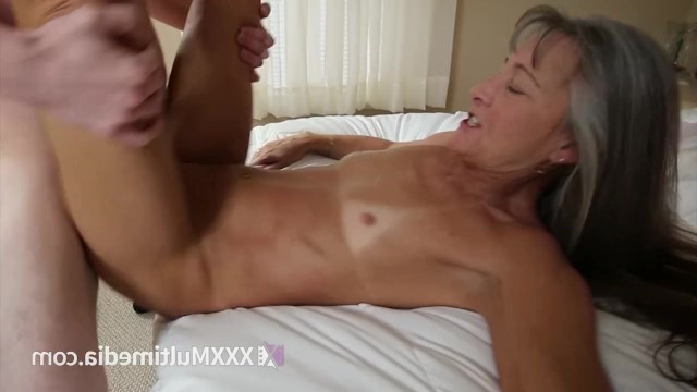 Sexy skinny granny chased her granddaughter from boyfriend Aiden Valentine and fucked with him